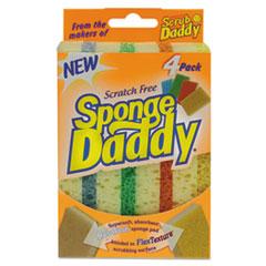 Scrub Daddy® Sponge Daddy Dual-Sided Sponge, 3 3/8 x 5.563 x 2 5/8, Assorted,4/Pk,20Pk/Ctn SCBSPDDY4