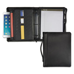 "Leather Multi-Ring Zippered Portfolio, Two-Part, 1"" Cap, 11 x 13-1/2, Black"