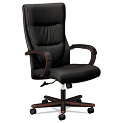 HON® VL844 Leather High-Back Chair, Supports up to 250 lbs., Black Seat/Mahogany Back, Mahogany Base