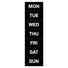 """MasterVision® Interchangeable Magnetic Board Accessories, Days of Week, Black/White, 2"""" x 1"""""""