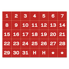 """MasterVision® Interchangeable Magnetic Board Accessories, Calendar Dates, Red/White, 1"""" x 1"""""""