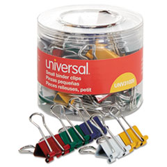 Universal® Binder Clips in Dispenser Tub, Small, Assorted Colors, 40/Pack