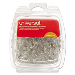 "Clear Push Pins, Plastic, 3/8"", 100/Pack"