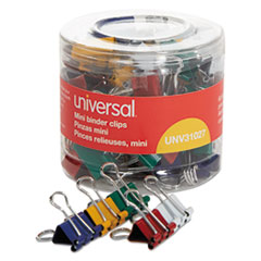Universal® Binder Clips in Dispenser Tub, Mini, Assorted Colors, 60/Pack