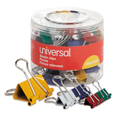 Universal® Binder Clips in Dispenser Tub, Assorted Sizes and Colors, 30/Pack