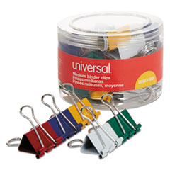 Universal® Binder Clips in Dispenser Tub, Medium, Assorted Colors, 24/Pack