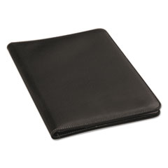 Universal® Leather-Look Pad Folio, Inside Flap Pocket w/Card Holder, Black
