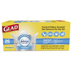 Glad® OdorShield QuickTie Small Trash Bags, Fresh Clean, 4 gal, 0.5mil, 26/BX, 6 BX/CT