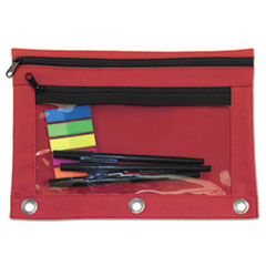 Advantus Binder Pouch with PVC Pocket, 9 1/2 x 7, Red, 6/Pack
