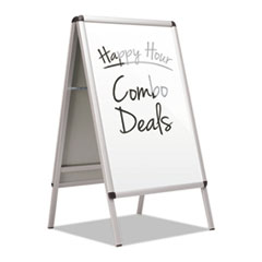 Quartet® Improv A-Frame Sign with Total Erase Surface, Aluminum, 28 1/2w x 42h, Silver