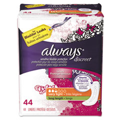 Always® Discreet Sensitive Bladder Protection Liners, Very Light, X-Long,44/Pack