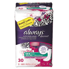 Always® Discreet Sensitive Bladder Protection Liners, Ultra Thin, 30/Pack, 3 Pk/Carton