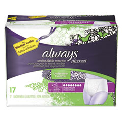 Always® Discreet Incontinence Underwear, Large, Maximum Absorbency, 17/Pack, 3 Packs/Carton
