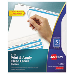 Avery® Print & Apply Clear Label Dividers w/White Tabs, 5-Tab, Letter, 5 Sets