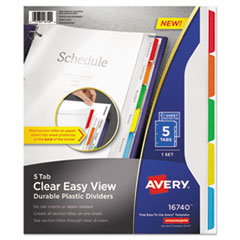 Avery® Clear Easy View Plastic Dividers with Sheet Protector, Multicolor, 5-Tab, Letter AVE16740
