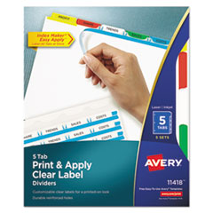 Avery® Index Maker® Print & Apply Clear Label Dividers with Color Tabs Thumbnail