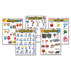 "TREND® Learning Chart Combo Packs, Kindergaten Basics, 18"" x 27 1/4"", 5/Set"