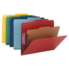 Smead® Four-Section Colored Pressboard Top Tab Classification Folders with SafeSHIELD® Coated Fasteners