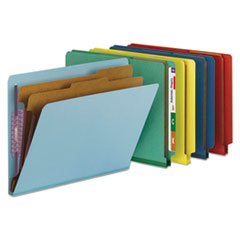 Smead® End Tab Colored Pressboard Classification Folders with SafeSHIELD® Coated Fasteners