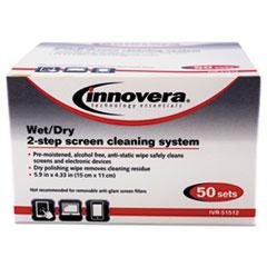Innovera® Anti-Static Wet/Dry Sachet Pairs, White, 50 Sets/Box