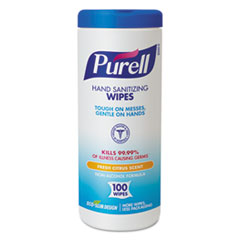 "PURELL® Premoistened Hand Sanitizing Wipes, Cloth, 5 3/4"" x 7"", 100/Canister"