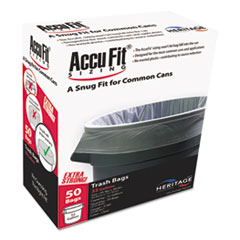 """Linear Low Density Can Liners with AccuFit Sizing, 55 gal, 0.9 mil, 40"""" x 53"""", Clear, 50/Box"""