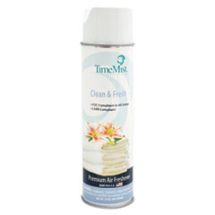 TimeMist® Premium Hand-Held Air Freshener, Clean & Fresh, 10oz Aerosol, 12/Carton