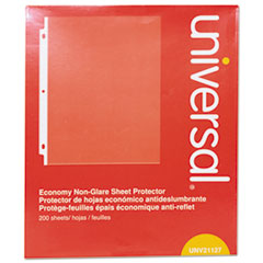 Universal® Top-Load Poly Sheet Protectors, Nonglare, Economy, Letter, 200/Box