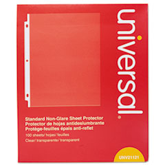Universal® Standard Sheet Protector, Standard, 8 1/2 x 11, Clear, Non-Glare, 100/Box