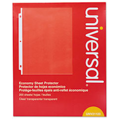 Universal® Standard Sheet Protector, Economy, 8 1/2 x 11, Clear, 200/Box