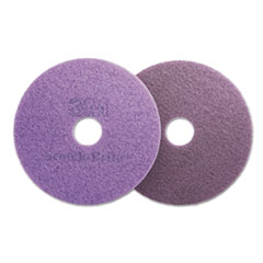 "Scotch-Brite™ Diamond Floor Pads, Burnish/Buff, 16"" Diameter, Purple, 5/Carton"