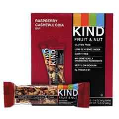 KIND Fruit and Nut Bars, Raspberry Cashew and Chia, 1.4 oz Bar, 12/Box