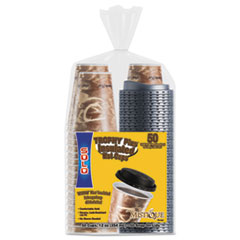 Dart® Bistro Hot/Cold Foam Cups with Lids, 12 oz, Maroon, 300-Cup and Lids/Carton