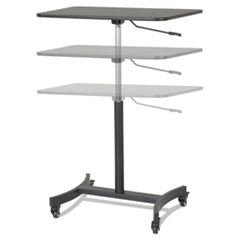 """Victor® DC500 High Rise Collection Mobile Adjustable Standing Desk, 30.75"""" x 22"""" x 29"""" to 44"""", Black"""
