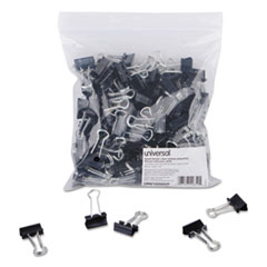 Universal® Binder Clips in Zip-Seal Bag, Small, Black/Silver, 144/Pack