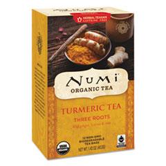 Numi® Turmeric Tea, Three Roots, 1.42 oz Bag, 12/Box