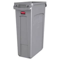 Rubbermaid® Commercial Slim Jim Receptacle with Venting Channels, Rectangular, Plastic, 23 gal, Gray