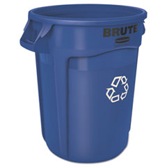 Rubbermaid® Commercial Brute Recycling Container, Round, 32 gal, Blue