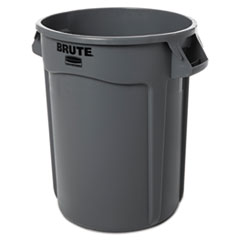 Rubbermaid® Commercial Round Brute Container, Plastic, 32 gal, Gray