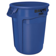 Rubbermaid® Commercial Round Brute Container, Plastic, 32 gal, Blue