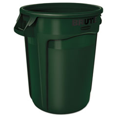 Rubbermaid® Commercial Round Brute Container, Plastic, 32 gal, Dark Green