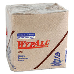 WypAll® L20 Towels, 1/4 Fold, 2-Ply, 12 1/2 x 12, Brown, 68/Pack, 12 Packs/Carton
