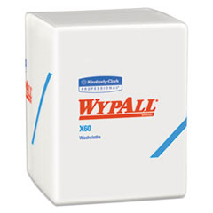 WypAll® X60 Cloths, 1/4 Fold, 12 1/2 x 10, White, 70/Pack, 8 Packs/Carton