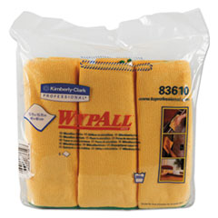 WypAll® Microfiber Cloths, Reusable, 15 3/4 x 15 3/4, Yellow, 24/Carton