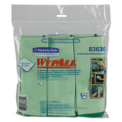 WypAll® Microfiber Cloths, Reusable, 15 3/4 x 15 3/4, Green, 24/Carton