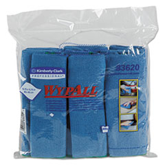 WypAll® Microfiber Cloths, Reusable, 15 3/4 x 15 3/4, Blue, 24/Carton