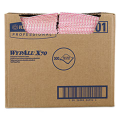 WypAll® X70 Wipers, 12 1/2 x 23 1/2, Red, 300/Box