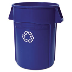 Rubbermaid® Commercial Brute Recycling Container, Round, 44 gal, Blue