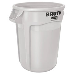 Rubbermaid® Commercial Round Brute Container, Plastic, 10 gal, White