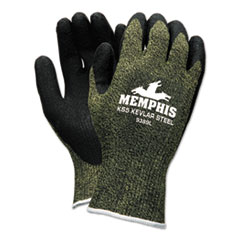 MCR™ Safety KS-5 Latex Dip Gloves, 13 gauge, Green/Black, Large